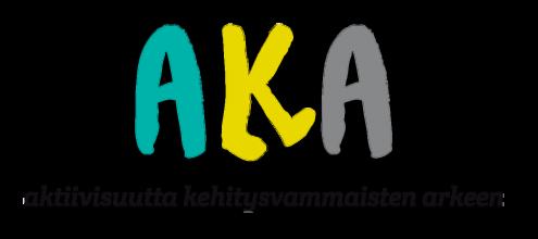 Logo, jossa lukee AKA, aktiivisuutta kehitysvammaisten arkeen.
