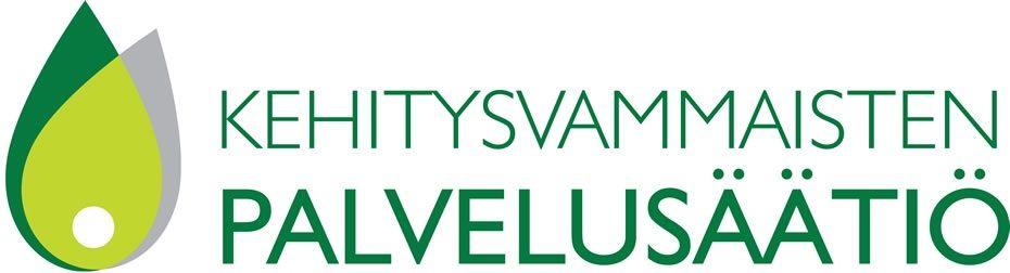 Logo, jossa lukee Kehitysvammaisten Palvelusäätiö.