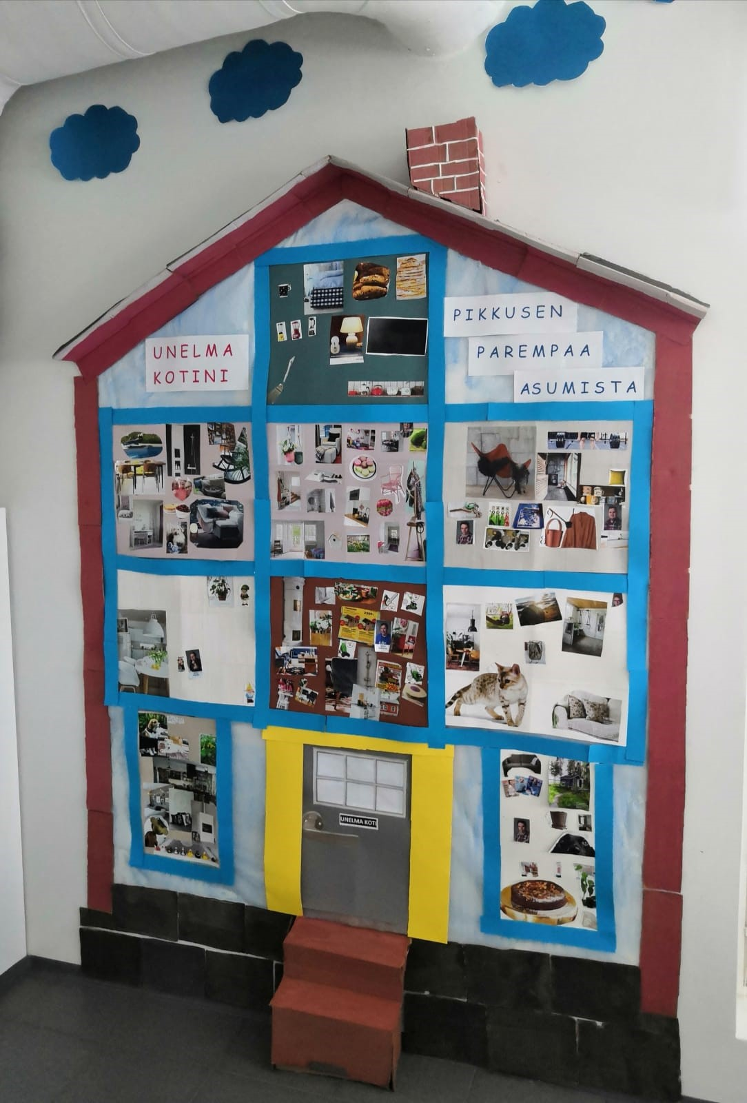 Talon muotoinen kuvakollaasi seinällä. Otsikkona: Unelmakotini, pikkuisen parempaa asumista