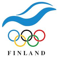 Suomen olympiakomitean logo. Finland on englanniksi Suomi.