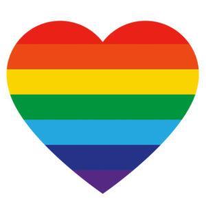 Pride-lipun värinen sydän