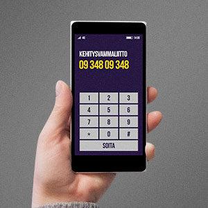 Kuva kännykästä, jossa neuvonnan numero 09 348 09 348.