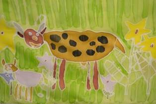 Maalaiselämää -taidenäyttelyn teoskuva, Sari Koivunen: Lehmä