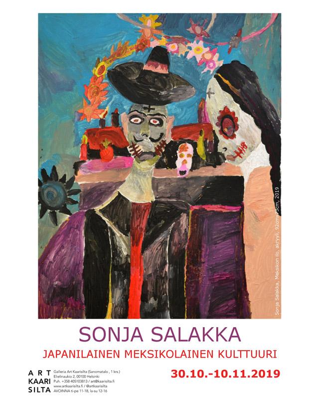 Tässä kuvassa on Sonjan maalaus, jossa on meksikolainen nais- ja miesfiguuri