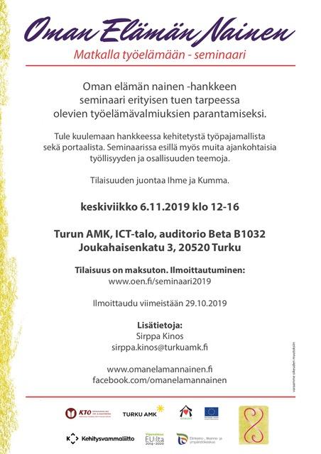 Tässä kuvassa on seminaarin flyeri, joka on pelkistetty. Samat tiedot löytyvät uutisen tekstistä.