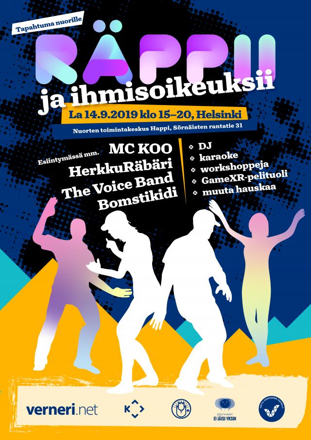räppii ja ihmisoikeuksii -bileet 14.9.2019 klo 15-20, Helsinki