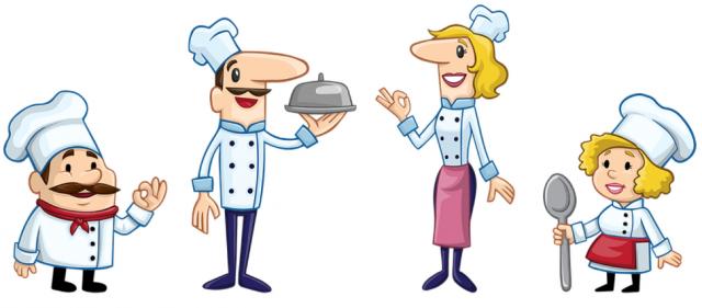 Tässä kuvassa on piirrettyjä kokkeja